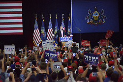 After being delayed by weather Republican presidential candidate DONALD TRUMP arrives at a rally in Mannheim, Lancaster County, PA , on October 1, 2016.