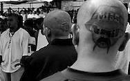 """Miembros de la pandilla """"Mara Salvatrucha"""" en el centro penal de Ciudad Barrios, San Salvador, El Salvador. El Departamento del Tesoro de los Estados Unidos designo OCT 11,2012 como una organizacion criminal multinacional. La Organizacion cuenta 30 mil miembros EEUU- Centroamerica. Photo: Edgar ROMERO."""