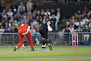 Leicestershire Foxes Dieter Klein run out by Lancashire Lightnings Glenn Maxwell  during the Vitality T20 Blast North Group match between Lancashire Lightning and Leicestershire Foxes at the Emirates, Old Trafford, Manchester, United Kingdom on 30 August 2019.