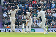 Wicket - Jos Buttler of England celebrates as Mohammed Shami of India is bowled by Moeen Ali of England during day two of the fourth SpecSavers International Test Match 2018 match between England and India at the Ageas Bowl, Southampton, United Kingdom on 31 August 2018.