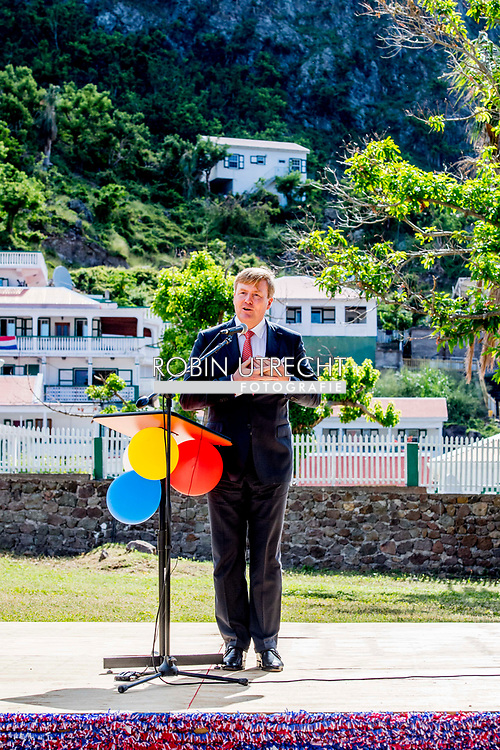 THE BOTTOM - speech van Koning Willem-Alexander en koningin Maxima vieren in de tuin van gezaghebber Jonathan Johnson Saba Day, de nationale feestdag van het eiland. ANP ROBIN UTRECHT **NETHERLANDS ONLY**