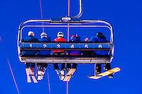 Village Express ski lift, Snowmass/Aspen ski resort, Snowmass Village (Aspen), Colorado USA.