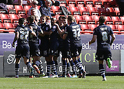 Leeds United Celebrate goal by Steve Morrison during the Sky Bet Championship match between Charlton Athletic and Leeds United at The Valley, London, England on 18 April 2015. Photo by Ricky Swift.
