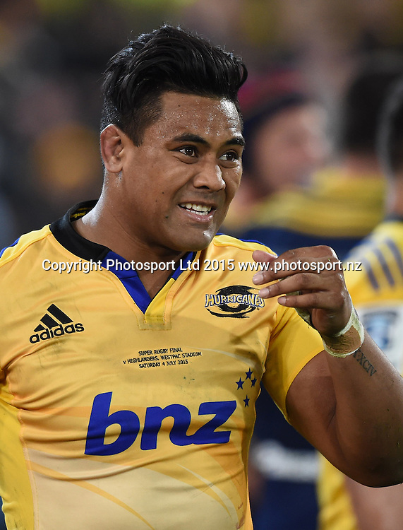 Julian Savea rues a missed chance for a try during the Super Rugby Final between the Hurricanes and Highlanders at Westpac Stadium in Wellington., New Zealand. Saturday 4 July 2015. Copyright Photo: Andrew Cornaga / www.Photosport.nz