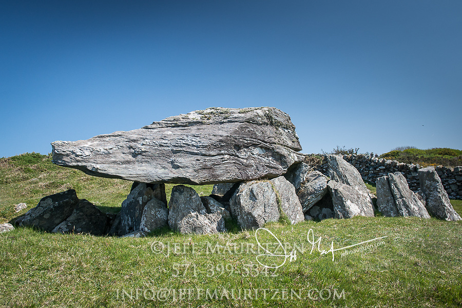 Cleggan court tomb, a prehistoric megalithic grave in County Galway, Ireland.