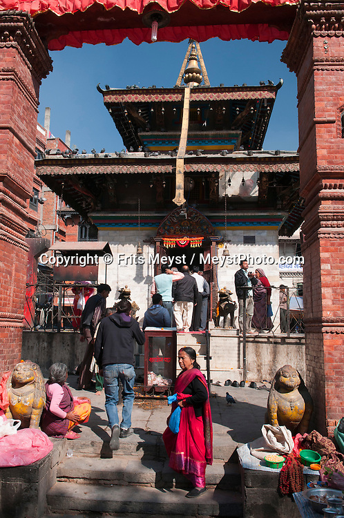 Kathmandu, Central Valley, Nepal, November 2012.  Kathmandu Durbar Square, or Basantapur Durbar Square is the plaza in front of the old royal palace of the Kathmandu Kingdom. It is one of three Durbar Squares in the Kathmandu Valley in Nepal, all of which are UNESCO World Heritage Sites. The Durbar square is surrounded with spectacular architecture and vividly showcases the skills of the Newar artists and craftsmen over several centuries. The Kathmandu Durbar Square holds the palaces of the Malla and Shah kings who ruled over the city. Along with these palaces, the square also surrounds quadrangles revealing courtyards and temples. The square is presently known as Hanuman Dhoka. Photo by Frits Meyst/Adventure4ever.com