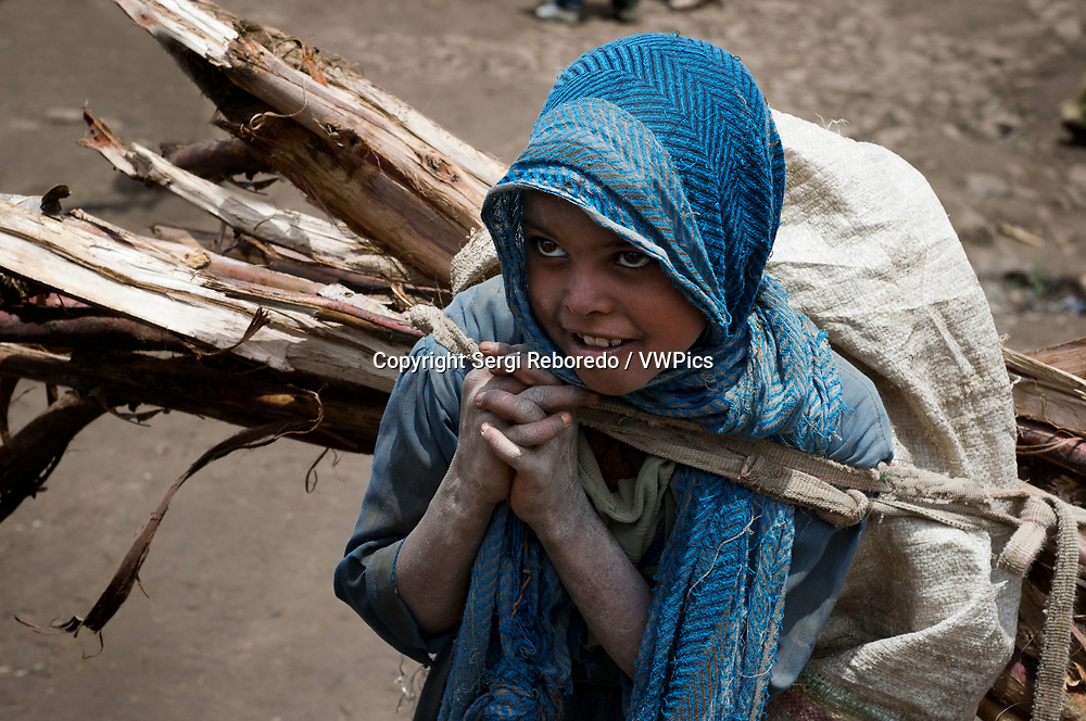 Market place. Debark. Simien Mountains. Northern Ethiopia. A girl loaded up with firewood at the Debark market. Debark has a few shops and stalls where you can buy vegetables and some basic items.