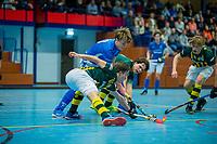 ARNHEM -  halve finales NK competitie  zaalhockey  junioren. Kampong JA1- HDM JA1 . Kampong plaats zich voor de finale. .   COPYRIGHT  KOEN SUYK