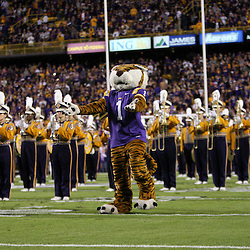 November 12, 2011; Baton Rouge, LA, USA;  The LSU Tigers mascot performs with the golden girls dance team and band prior to kickoff of a game against the Western Kentucky Hilltoppers at Tiger Stadium. LSU defeated Western Kentucky 42-9. Mandatory Credit: Derick E. Hingle-US PRESSWIRE