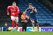Charlton Athletic defender Fredrik Ulvestad (17) runs down the ball from Southend United midfielder Will Atkinson (12) during the EFL Sky Bet League 1 match between Southend United and Charlton Athletic at Roots Hall, Southend, England on 31 December 2016. Photo by Jon Bromley.