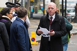 London, UK. 16 November, 2019. Matt Wrack, General Secretary of the Fire Brigades Union (FBU), arrives at Labour's Clause V meeting. The Clause V meeting, chaired by the party leader and attended by members of the National Executive Committee (NEC), relevant Shadow Cabinet members and members of the National Policy Forum, will finalise the party's general election manifesto. The meeting is named after Clause V of the Labour Party rulebook.