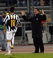 Photo: Chris Ratcliffe.<br /> Juventus v Arsenal. UEFA Champions League. Quarter-Finals. 05/04/2006. <br /> Fabio Capello, manager of Juventus cannot understand the loss