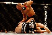 Montreal - 08APR19 - Georges St. Pierre pummels a helpless Matt Serra during UFC 83 at Montreal's Bell Center. GAZETTE PHOTO BY TIM SNOW