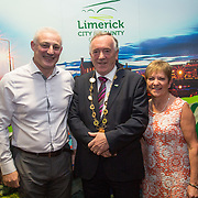 10.10. 2017.          <br /> Pictured at the Limerick Going for Gold 2017 finals in the Strand Hotel were, Mayor of the City and County of Limerick Cllr Stephen Keary with Dan Larkin and Noreen Reeves, Grange Residents Association.<br /> <br /> <br /> Limerick Going for Gold, which is sponsored by the JP McManus Charitable Foundation, has a total prize pool of over €75,000.  It is organised by Limerick City and County Council and supported by Limerick's Live 95FM, The Limerick Leader and The Limerick Chronicle, The Limerick Post, Parkway Shopping Centre, I Love Limerick and Southern Marketing Media & Design. Picture: Alan Place