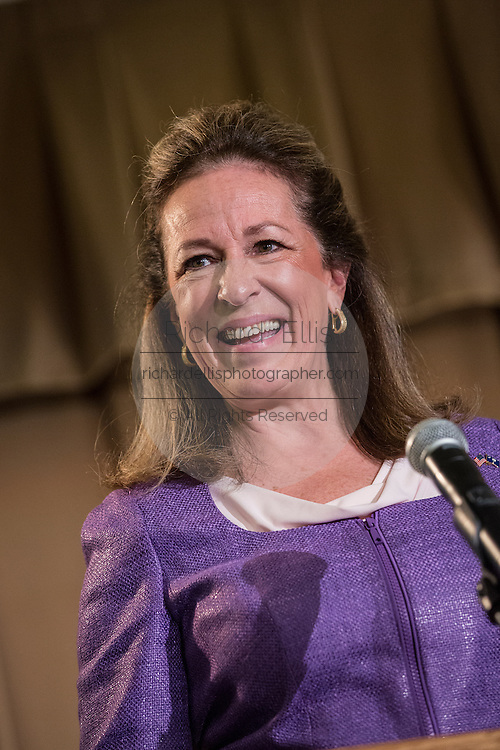Elizabeth Colbert Busch the democratic candidate for the open Congressional seat during a debate against Gov. Mark Sanford the Republican candidate at the Citadel on April 29, 2013 in Charleston, South Carolina.