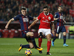January 20, 2018 - Lisbon, Portugal - Chaves's defender Nikola Maras (L) vies for the ball with Benfica's forward Eduardo Salvio (R)  during Primeira Liga 2017/18 match between SL Benfica vs GD Chaves, in Lisbon, on January 20, 2018. (Credit Image: © Carlos Palma/NurPhoto via ZUMA Press)