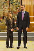 09.JANUARY.2013. MADRID<br /> <br /> PRINCES OF ASTURIAS , PRINCE FELIPE OF SPAIN AND WIFE PRINCESS LETIZIA RECEIVE IN HEARING TO A GROUP OF WINNING CHILDREN OF THE PRIZES OF THE SPANISH EDITION OF THE CONTEST OF DRAWING ORGANIZED ON THE OCCASION OF 170 &ordm; ANNIVERSARY OF THE CREATION OF THE &quot; WORK OF THE MISSIONARY INFANCY &quot;.<br /> <br /> <br /> BYLINE: EDBIMAGEARCHIVE.CO.UK<br /> <br /> *THIS IMAGE IS STRICTLY FOR UK NEWSPAPERS AND MAGAZINES ONLY*<br /> *FOR WORLD WIDE SALES AND WEB USE PLEASE CONTACT EDBIMAGEARCHIVE - 0208 954 5968*