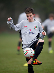 CARDIFF, WALES - Thursday, March 15, 2012: Wales U16's Harry Wilson (Liverpool FC & Ysgol Dinas Bran) during a training session at the Glamorgan Sports Park. (Pic by David Rawcliffe/Propaganda)