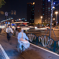 Bicycles and cars along separate paths in Shanghai, China.