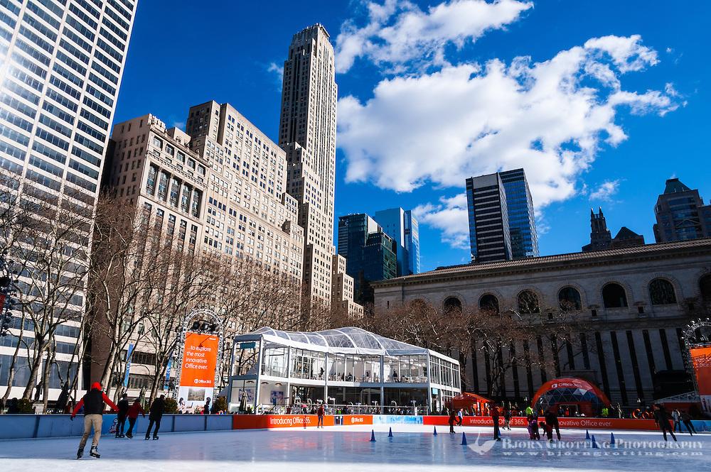 US, New York City. Ice skating at the Bryant Park.