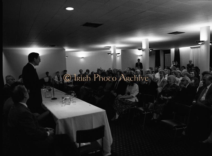 New Israeli Ambassador Meets Jewish Community.(T6)..1989..18.09.1989..09.18.1989..18th September 1989..The newly appointed Israeli Ambassador to Ireland,.Mr Yoav Biran, met with the Jewish Community in Ireland at the Israeli Embassy at Ballsbridge Dublin...Image shows Ambassador Biran taking the floor to speak the assembled audience of members of the Jewish Community of Ireland in the embassy.