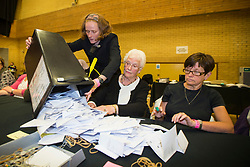 © Licensed to London News Pictures. 08/06/2017. Kendal UK. Ballot boxes have started to arrive in Kendal leisure centre for counting to begin in Tim Farron's constituency of Westmorland & Lonsdale. Photo credit: Andrew McCaren/LNP