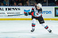 KELOWNA, BC - JANUARY 4: Elias Carmichael #14 of the Kelowna Rockets completes a pass against the Vancouver Giants  at Prospera Place on January 4, 2020 in Kelowna, Canada. (Photo by Marissa Baecker/Shoot the Breeze)