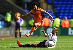 Helder Costa of Wolverhampton Wanderers is tackled by Reece Burke of Bolton Wanderers - Mandatory by-line: Matt McNulty/JMP - 21/04/2018 - FOOTBALL - Macron Stadium - Bolton, England - Bolton Wanderers v Wolverhampton Wanderers - Sky Bet Championship