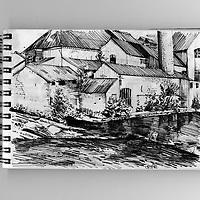 Sketchbook scene of the old Mill on river Exe, Exeter, Devon, England