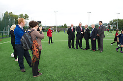 NEWPORT, WALES - Wednesday, July 4, 2012: Newport Council Leader Bob Bright, First Minister Carwyn Jones, Welsh Football Trust Chief-Executive Neil Ward, Chairman Peter Lee and FAW Chief-Executive Jonathan Ford open the first 3G pitch at the National Development Centre at the Newport International Sports Village. (Pic by David Rawcliffe/Propaganda)