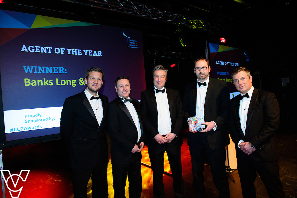 Lincolnshire Property and Construction Awards 2017.<br /> <br /> Agent of the Year - Sponsored by Willmott Dixon.<br /> <br /> Charlie Luxton and award sponsor Nick Heath from Willmott Dixon presents the award to Banks Long &amp; Co<br /> <br /> Picture: Chris Vaughan Photography for Lincolnshire Chamber of Commerce<br /> Date: February 7, 2017