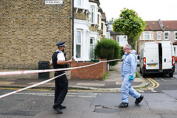 © Licensed to London News Pictures. 28/05/2019. London, UK. Forensic officer on Dyson Road, Forest Gate, East London where a man in his 30s died in the early hours of this morning.<br />