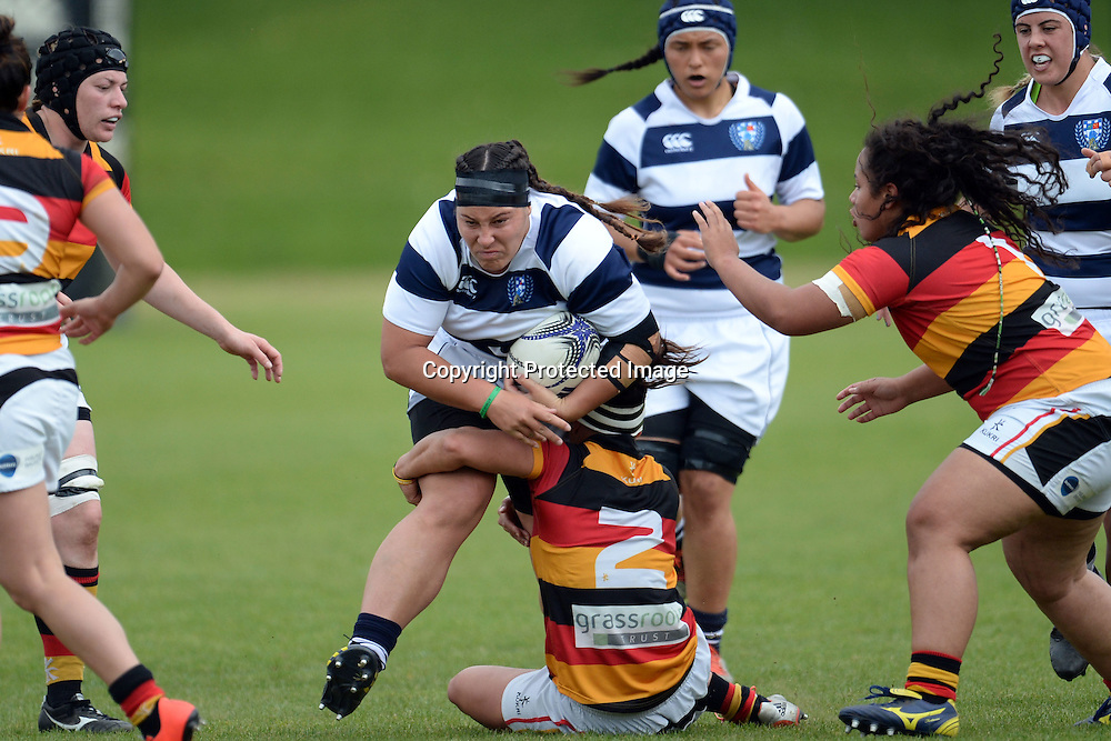 Auckland Storm's Doris Taufateau tackled by Waikato's Teresa Te Tamaki during the Women's Rugby NPC Semi Final, Auckland Storm v Waikato. Auckland, New Zealand on Saturday 10 October 2015. Copyright Photo: Raghavan Venugopal / www.photosport.nz