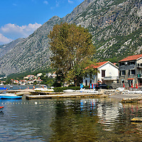 Swimming Piers On Shoreline in Dobrota, Montenegro<br />