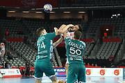 Artsem Karalek, Viachaslau Bokhan (Belarus) and Petar Nenadic (Serbia) during the EHF 2018 Men's European Championship, 2nd Round, Handball match between Serbia and Belarus on January 24, 2018 at the Arena in Zagreb, Croatia - Photo Laurent Lairys / ProSportsImages / DPPI