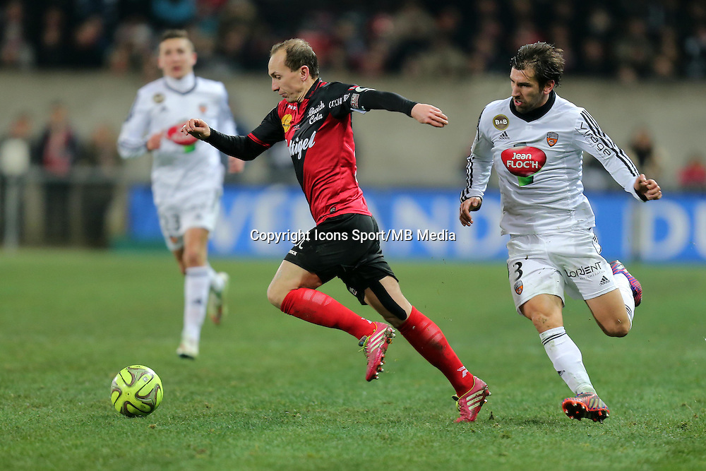 Thibault GIRESSE / PEDRINHO  - 24.01.2015 - Guingamp / Lorient - 22eme journee de Ligue1<br />