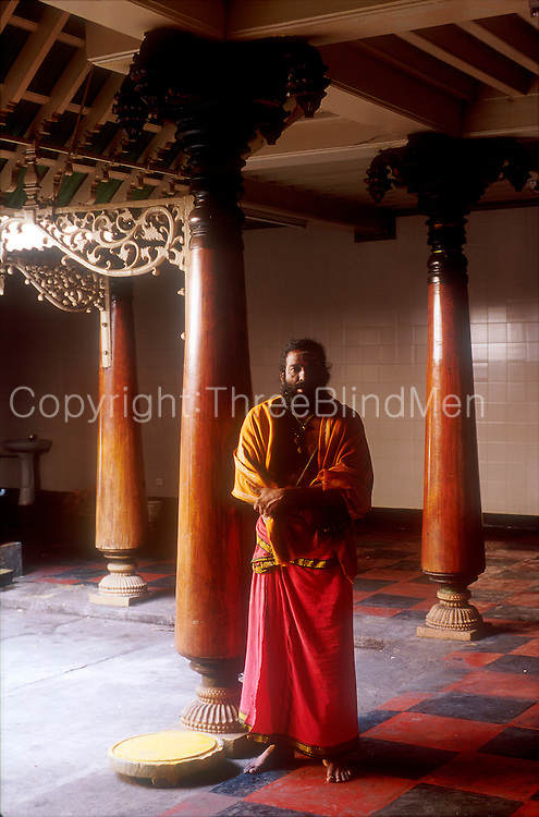 Hindu priest at Kovil in Sea Street. Colombo.