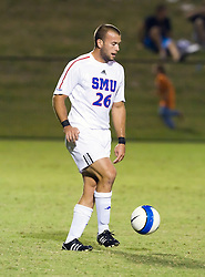 Southern Methodist Mustangs defender Chad Bauman (26).  The #18 ranked Virginia Cavaliers fell to the #14 ranked Southern Methodist Mustangs 3-1 in NCAA men's soccer at Klockner Stadium on the Grounds of the University of Virginia in Charlottesville, VA on August 31, 2008.