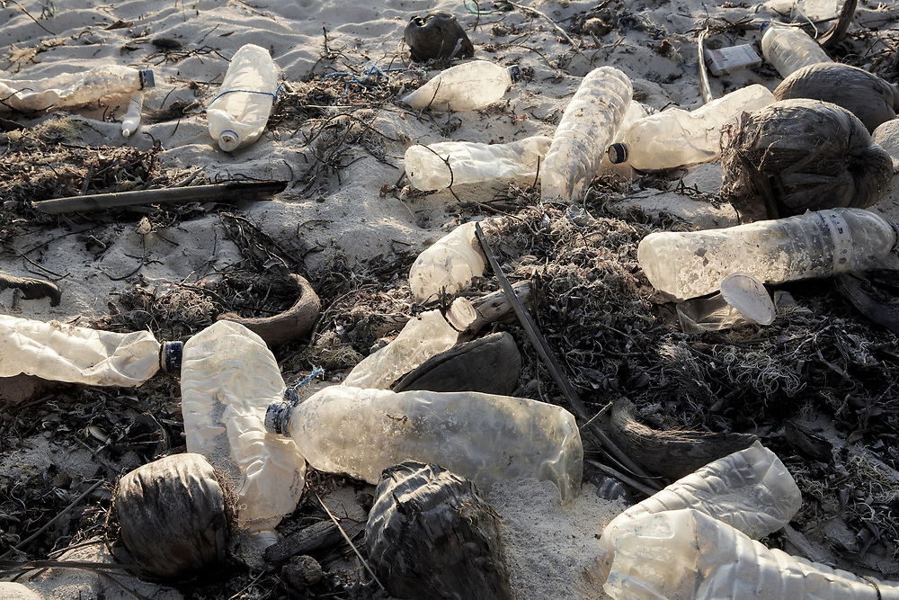 Single use plastic bottles litter beach on Rote Island, Indonesia