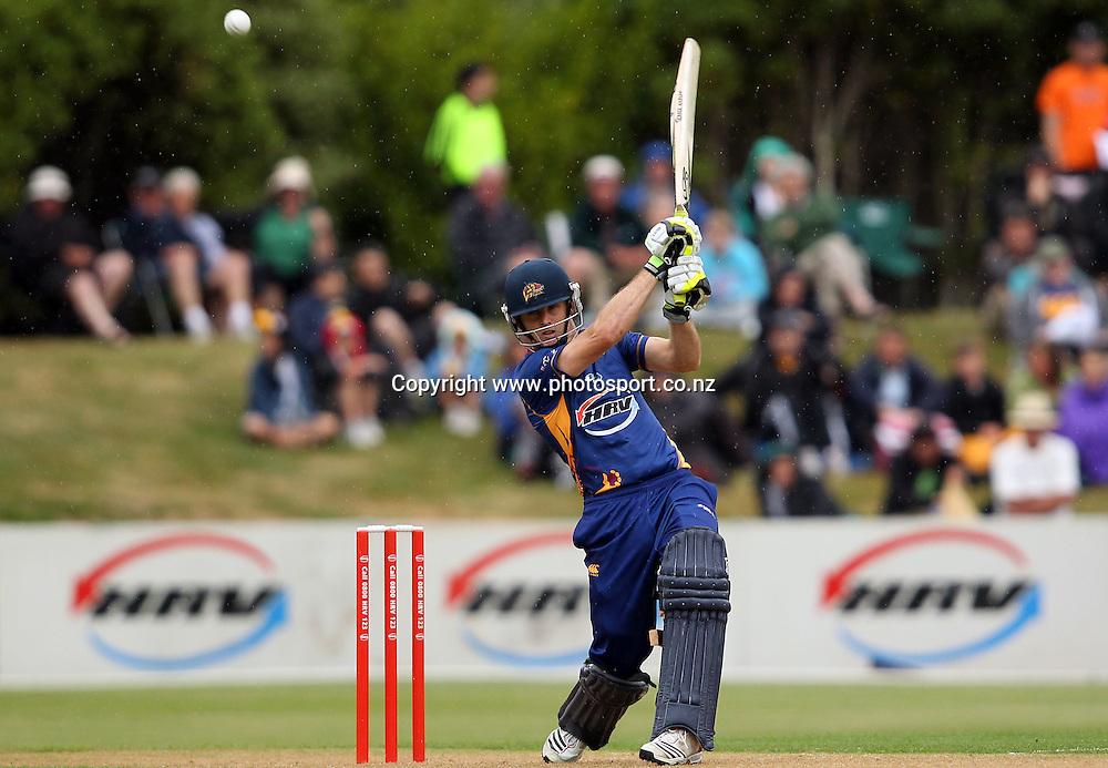 Aaron Redmond in action for the Volts.<br /> Twenty20 Cricket - HRV Cup, Otago Volts v Northern Knights, 29 December 2011, University Oval, Dunedin, New Zealand.<br /> Photo: Rob Jefferies/PHOTOSPORT