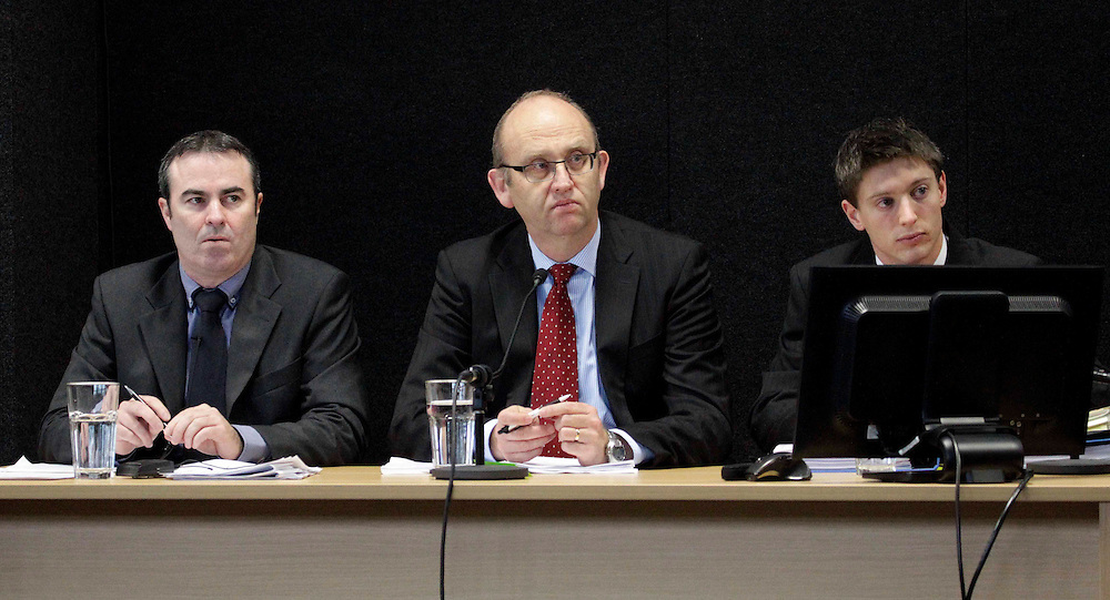 "Code Compliance ERSA Panel, Derek Bradley, left, Clark Hyland and Douglas Latham at the Royal Earthquake Commission inquiry into the collapse of the CTV building, Christchurch, New Zealand, Tuesday, August 14, 2012. Credit:SNPA / The Press, David Hallett  ""POOL"""""
