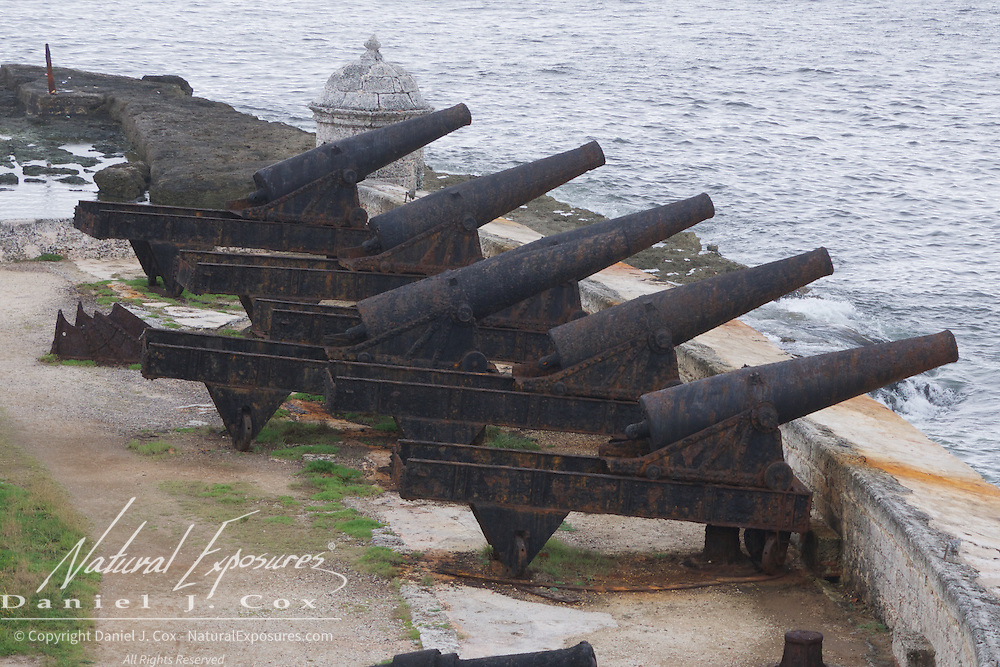 Canon lined up against the old Spanish Fort known as Morro Castle, Havana, Cuba.