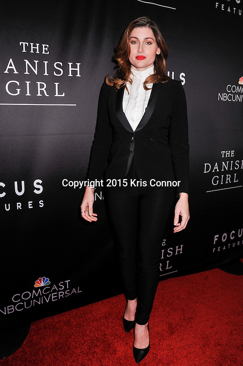 """Trace Lysette, actress, Transparent, attends the DC premiere of Focus Features' """"THE DANISH GIRL"""" at the United States Navy Memorial in Washington DC on November 23, 2015.  (Photo by Kris Connor for Focus Features)"""