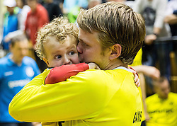 Janez Gams of RK Gorenje with his child after the handball match between RK Gorenje and RK Celje Pivovarna Lasko in 5th Round of 1st NLB Leasing Slovenian Champions League 2015/16, on May 11, 2016, in Red arena, Velenje, Slovenia. Photo by Vid Ponikvar / Sportida