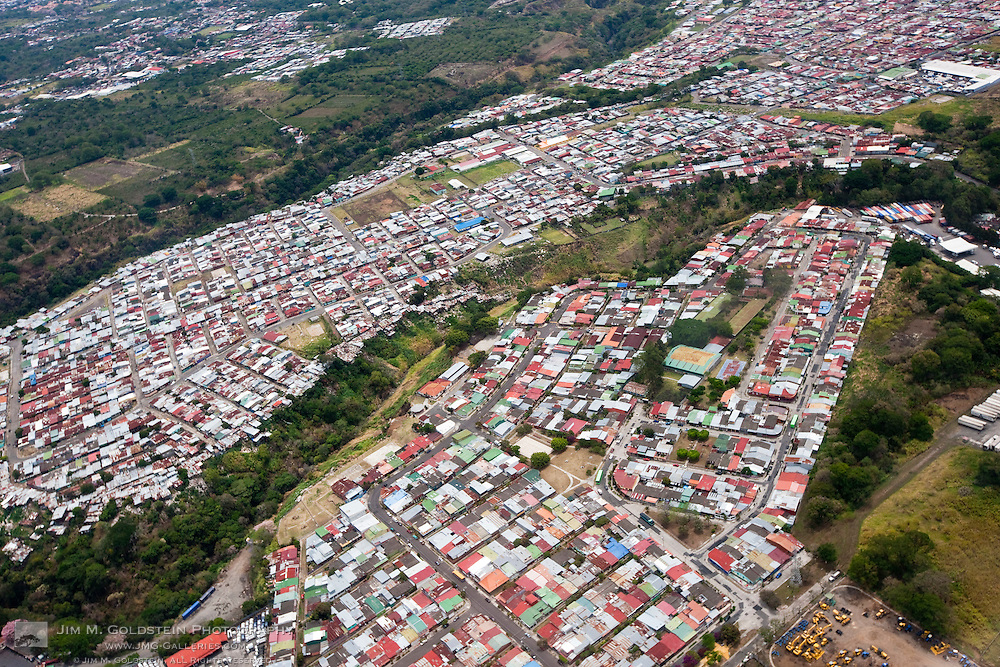 Homes in a densely populated neighborhood of San José, Costa Rica as seen from above.