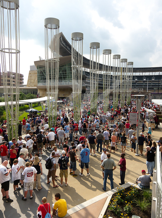 Fans line up outside Target Field for a 1991 World Series bobblehead giveaway before a game between the Minnesota Twins and the Chicago White Sox in Minneapolis, Minnesota on August 5, 2011.