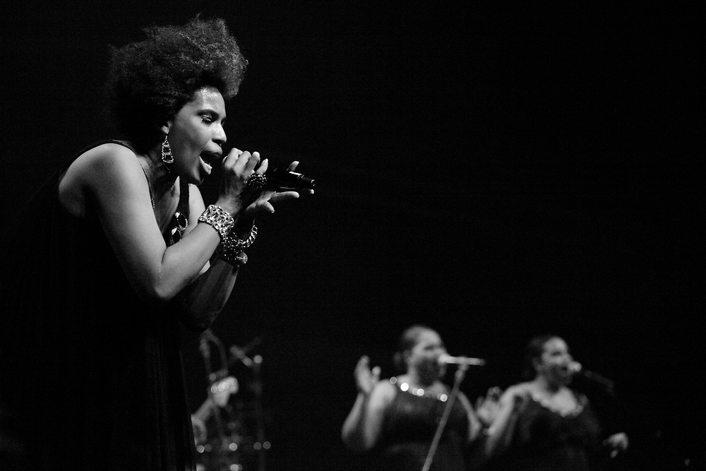 R&B and soul singer Macy Gray performing in De Oosterpoort.in Groningen.