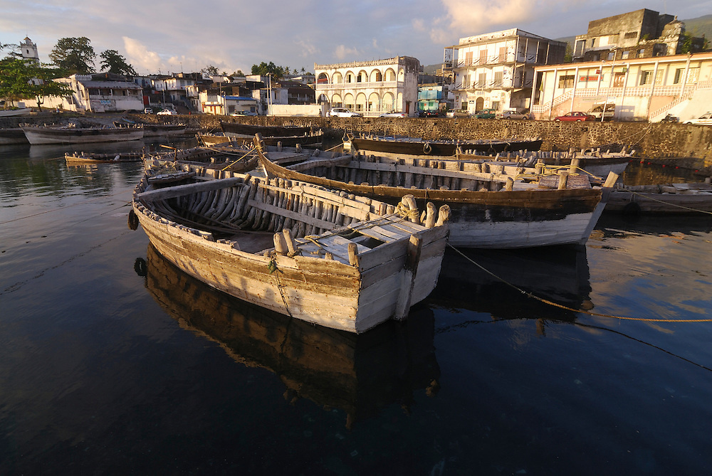 Some wooden boats in the harbour. Comores. Grand Comore. Moroni.