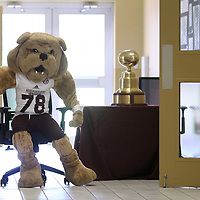 "The Mississippi State Mascot ""Bully"" rolls in a chair up the hallway during Mississippi State University Education Fair held at the Hancock Leadership Center Monday afternoon in Tupelo."