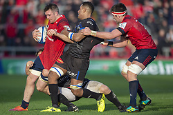 December 9, 2018 - Limerick, Ireland - Peter O'Mahony of Munster tackled by Mathieu Babillot of Castres during the Heineken Champions Cup Round 3 match between Munster Rugby and Castres Qlympique at Thomond Park Stadium in Limerick, Ireland on December 9, 2018  (Credit Image: © Andrew Surma/NurPhoto via ZUMA Press)